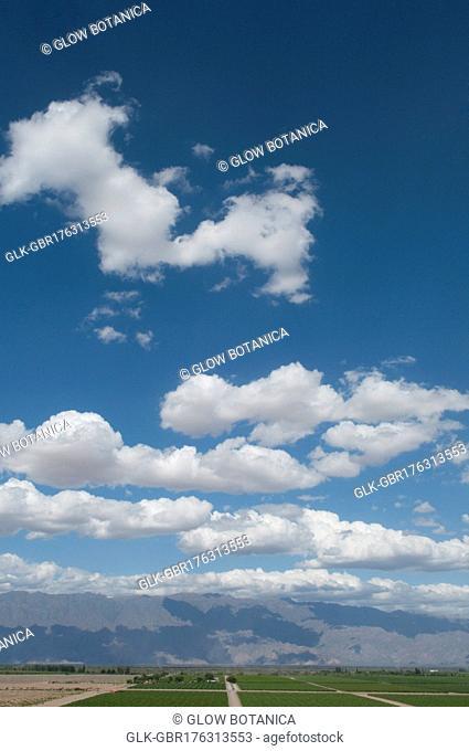 Clouds over fields, Chilecito, La Rioja Province, Argentina
