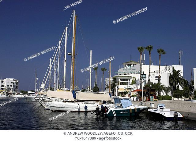 Yachts tied up Kantaoui Marina Tunisia