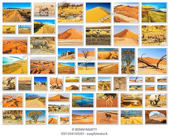 Namibia pictures collage of different locations landmark of Namibia including Etosha, Namib-Naukluft, Sperrgebiet, Skeleton Coast, Sandwich Harbour