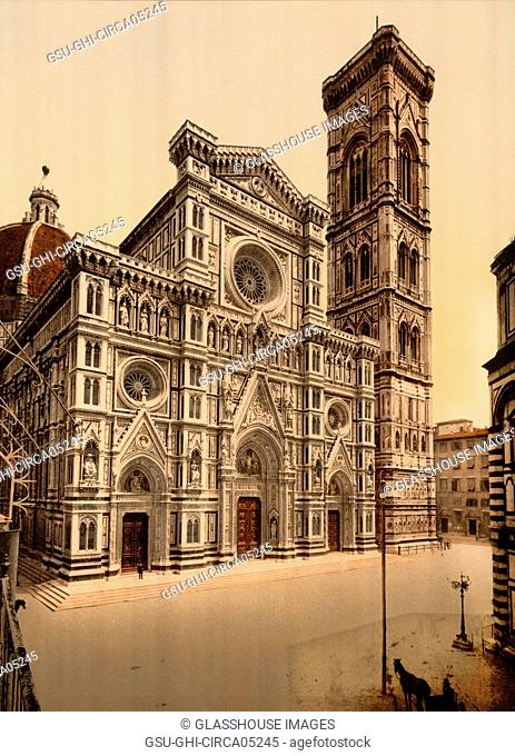 Cathedral and Campanile, Florence, Italy, Photochrome Print, Detroit Publishing Company, 1900
