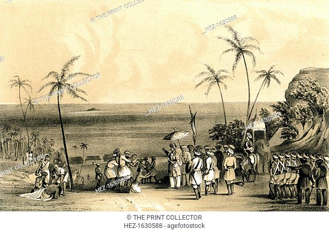 'The merchants of Calicut seized and chained to a barren rock by order of Tippoo Saib', (1847). The merchants of Kozhikode in Kerala, India