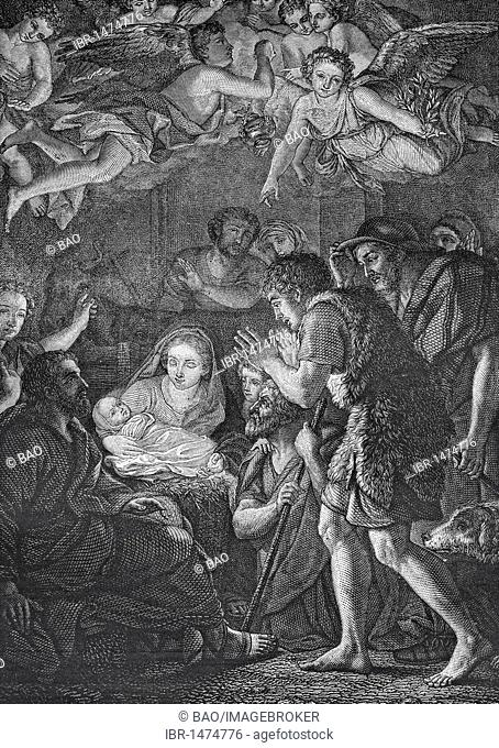Christ's birth, historic steel engraving from 1860