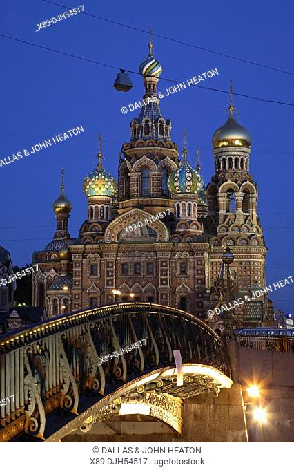 Russia, St Petersburg, Church of the Resurrection Church on Spilled Blood, Little Stable Bridge Malo-Konyushennyy most, Floodlit