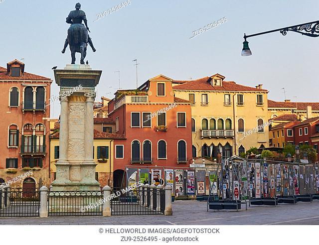 Veneto regional election posters and bronze equestrian statue of Captain Bartolomeo Colleoni by Andrea del Verrocchio in Campo Santi Giovanni and Paolo, Venice