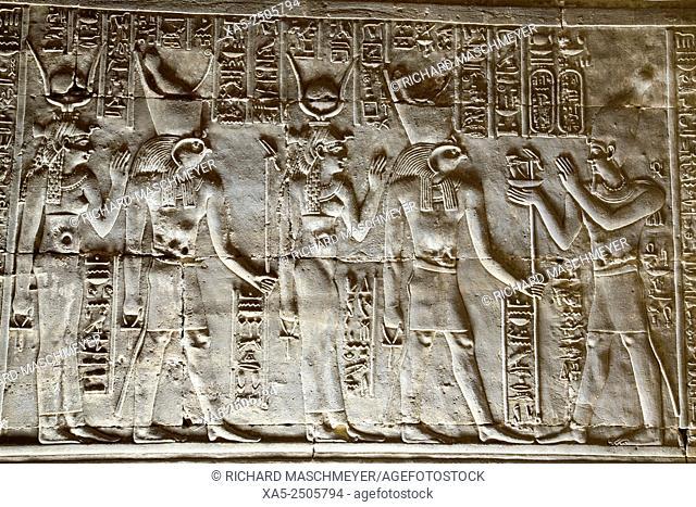 Relief of the God Horus and Goddess Hathor Greeting the Pharaoh, , Temple of Horus, Edfu, Egypt