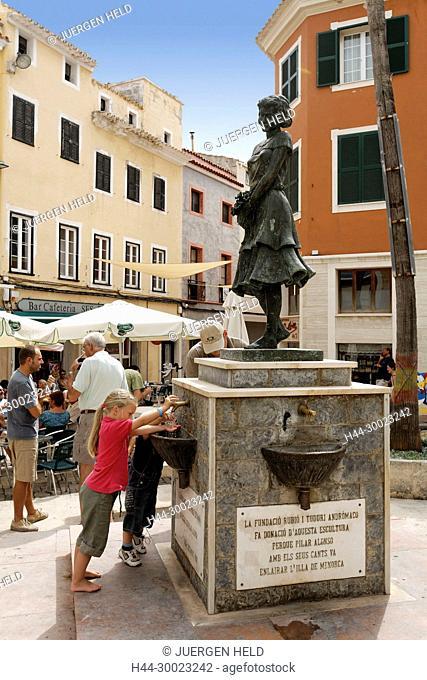 Spain Menorca Mahon old city center Plaza de Colon fountain with statue