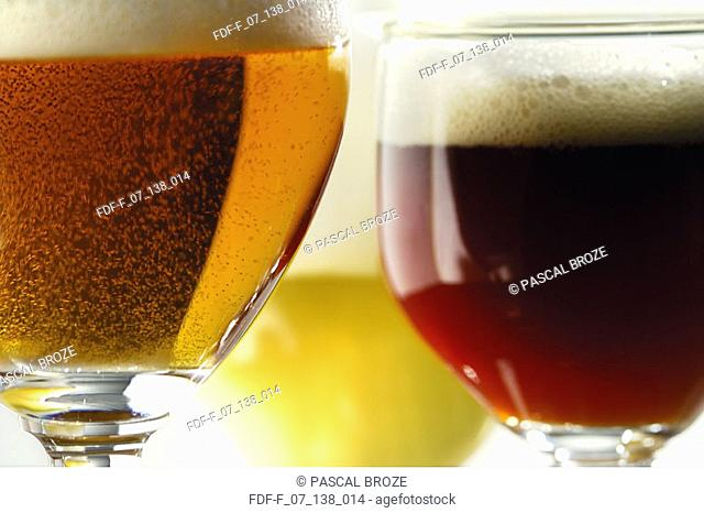 Close-up of glasses of beer