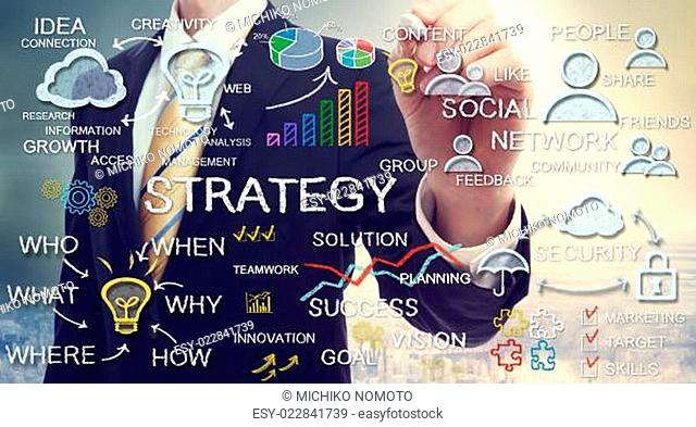 Businessman drawing strategy concepts