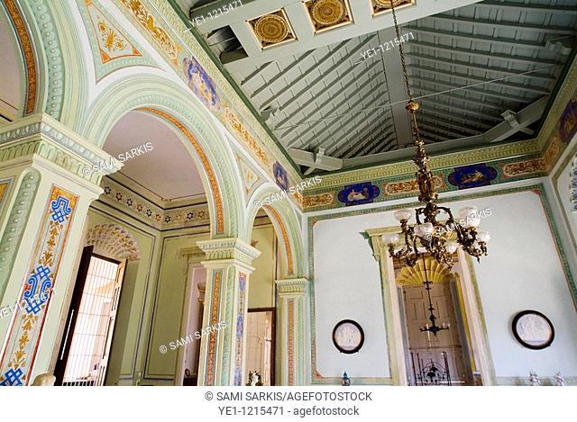Ornate ceiling in the Museum of Colonial Architecture, Trinidad, Sancti Spiritus, Cuba