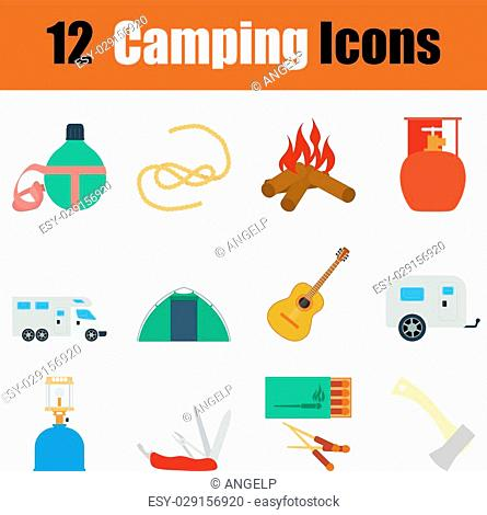 Flat design camping icon set in ui colors. Vector illustration
