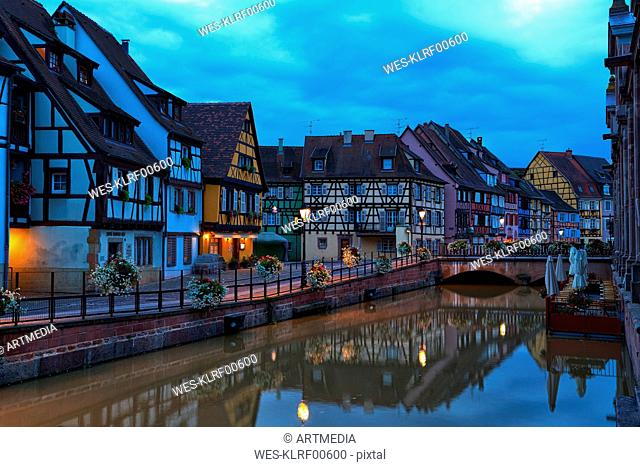 France, Alsace, Colmar, Old town, Petite Venise in the evening