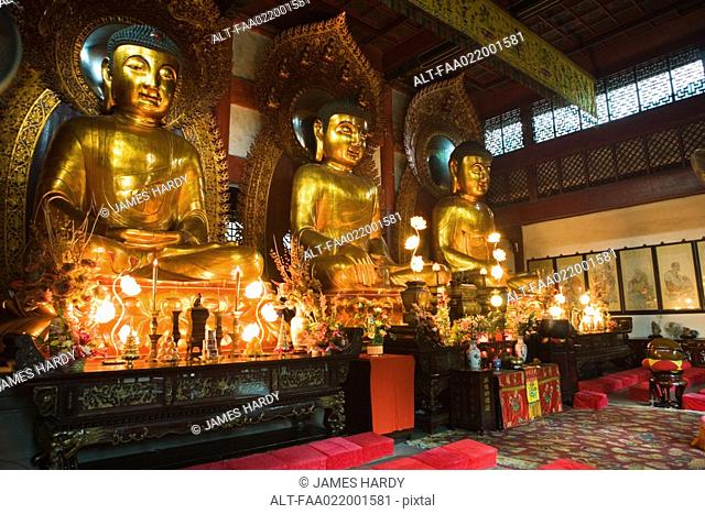 Statues of Buddha in temple