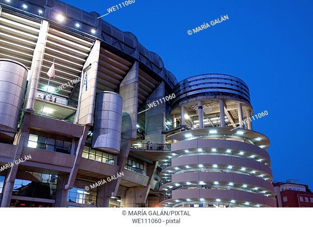 Facade of Santiago Bernabeu stadium, night view. Madrid, Spain