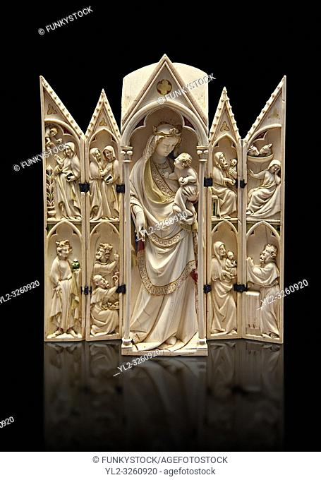 Medieval Gothic ivory tabernacle depicting the Virgin and Child with scenes from the Annunciation, Nativity, the adoration of the Magi and the presentation at...