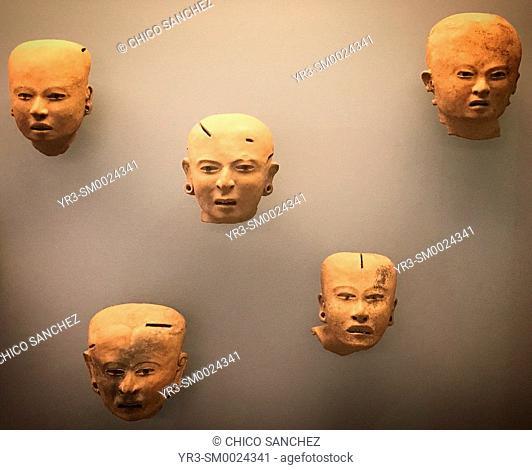 Sculptures of deform heads displayed in Museo Amparo in Puebla, Mexico