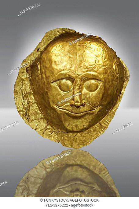 Gold Death Mask from Grave V, Grave Circle A, Mycenae. The mask is made of a thin sheet of beaten gold and is the only mask from grave circle A with eyes open