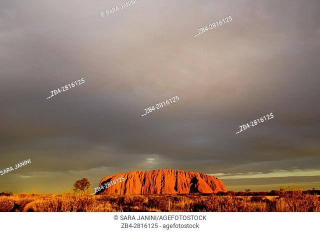 Rock formations on landscape, Uluru, Uluru-Kata Tjuta National Park, Northern Territory, Australia, Oceania