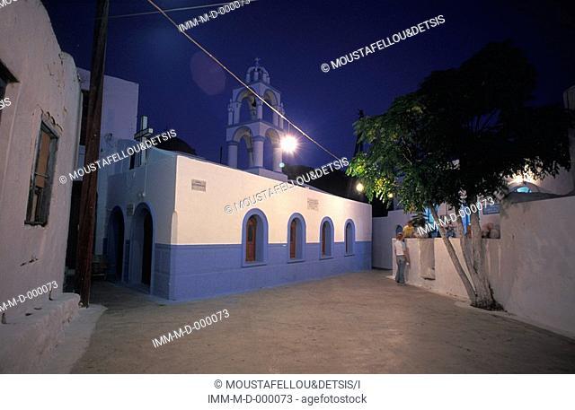 Church, Emborio's Village at night, Nisyros, Dodecanese, Greece, Europe