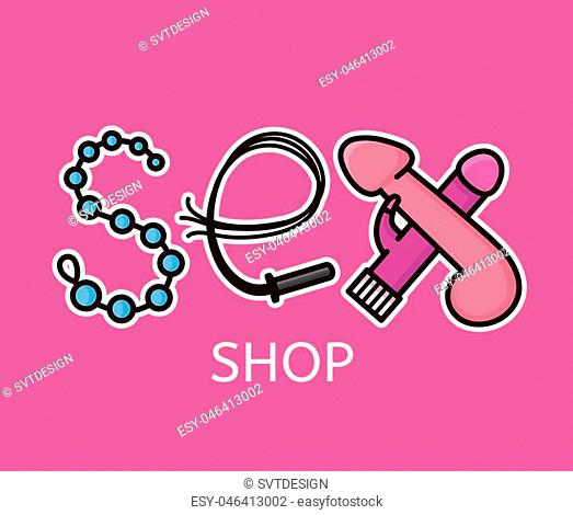 Sex shop logo design. Sex letters from intimate toys. Vector flat line modern style illustration cartoon icon design. Isolated on pink background
