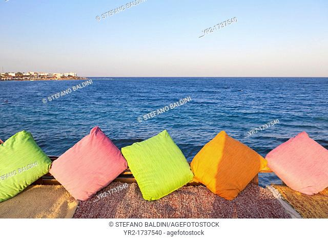 Confortable cushions and mats at a seafront restaurant in Dahab, Sinai, Egypt