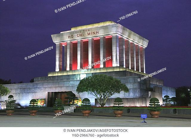Ho Chi Minh Mausoleum at Night, Hanoi, Vietnam