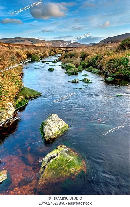 Scenic view over wild terrain in Dublin Mountains, Republic of Ireland