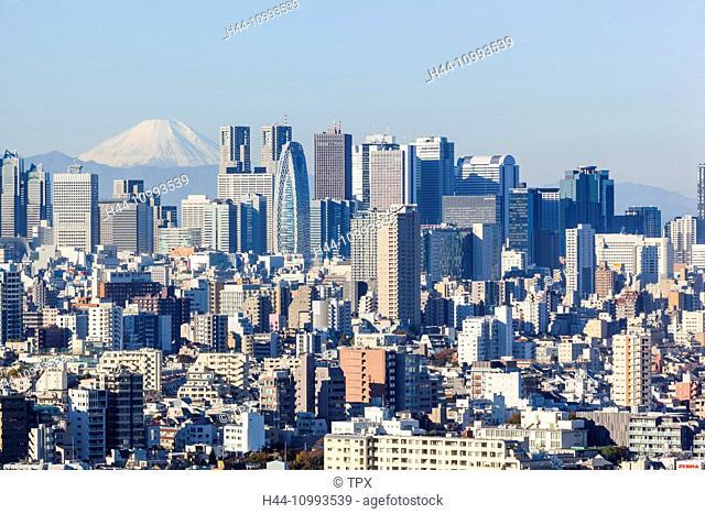 Japan, Honshu, Tokyo, Shinjuku Skyline and Mt. Fuji