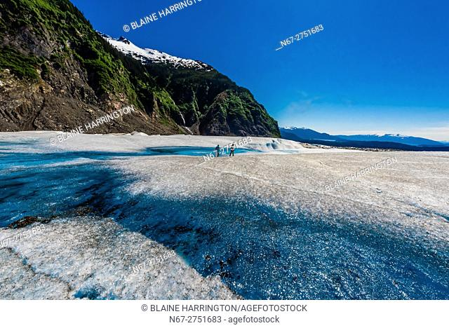 Azure blue meltwater pools, Mendenhall Glacier, Juneau, Alaska USA