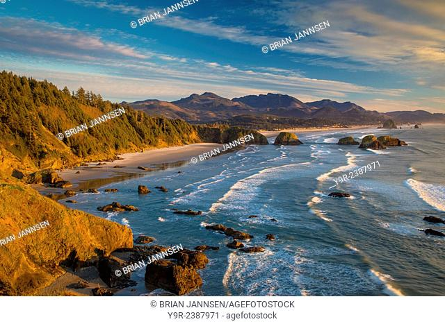 Sunset over the coastline near Cannon Beach, Oregon, USA