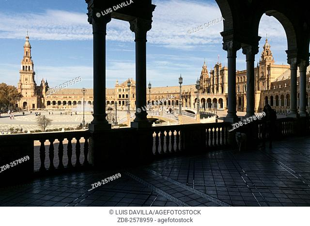 Plaza de España in Seville, Spain, a square built in 1928 for the Ibero-Amercian Exposition of 1929 in Regionalism style
