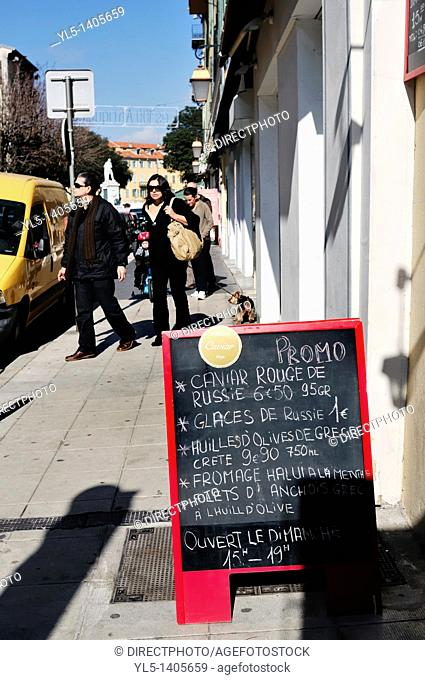 Nice, France - Street Scene, Couple Promenading near Place Garibaldi Area, Rue Segurane, Blackboard Sign in French for Russian Caviar on Sidewalk