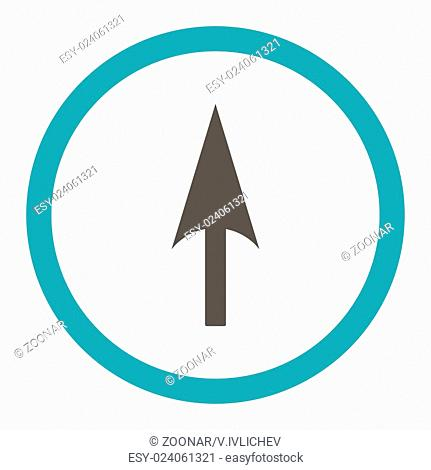 Arrow Axis Y flat grey and cyan colors rounded raster icon