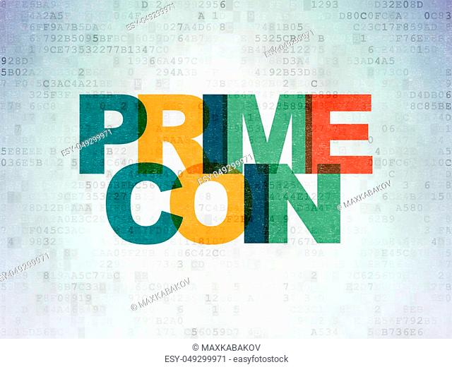 Blockchain concept: Painted multicolor text Primecoin on Digital Data Paper background