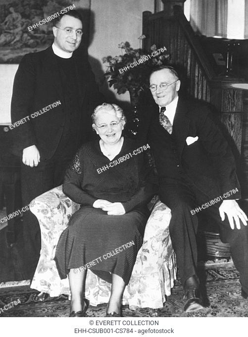 Father Charles Coughlin with his parents, Amelia and Thomas J. Coughlin. April 16, 1942. Shortly afterward, on May 1, 1942, Archbishop Edward Mooney