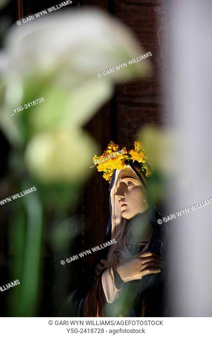 Woman statue in san marcello al corso church in Rome Italy