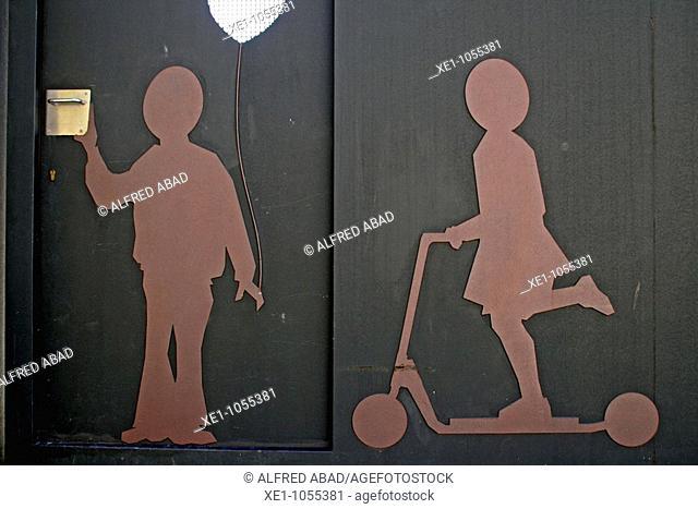 school door, Begues, Catalonia, Spain