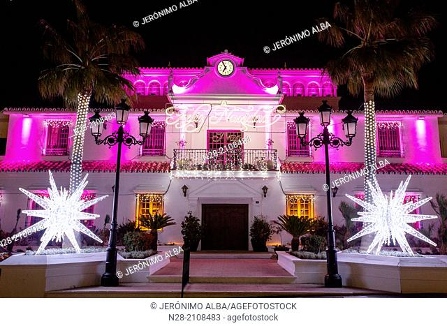 Lights and Christmas decoration, Mijas, Malaga province, Costa del Sol, Andalusia, Spain