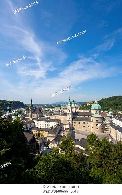 Austria, Salzburg, Cityscape with Franciscan Church and Cathedral