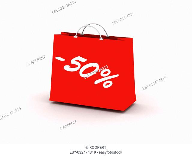 50% off. Red package isolated on white background. High quality 3d render