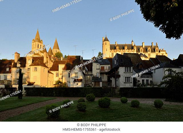 France, Indre et Loire, Loches, the Royal Palace, dated 14th century and the collegiate church Saint-Ours dated 11th-12th century