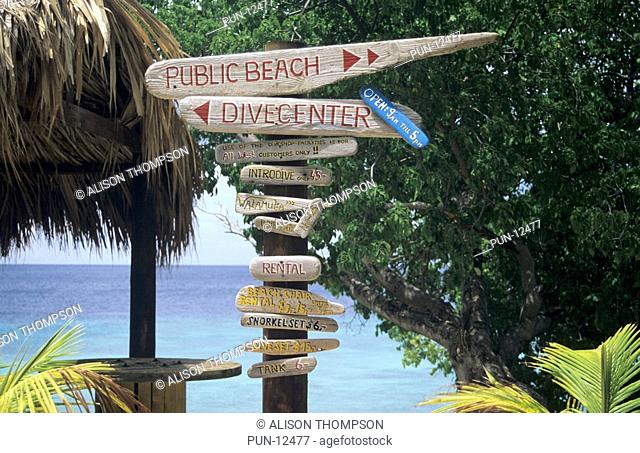 Dive and beach sign at Playa Kalki, Curacao, The Netherland Antilles
