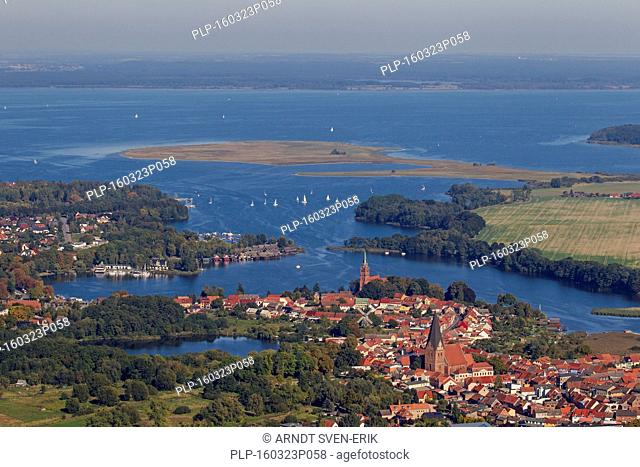 Aerial view over the city Röbel / Roebel on the western shore of Lake Müritz, Mecklenburg-Western Pomerania, Germany