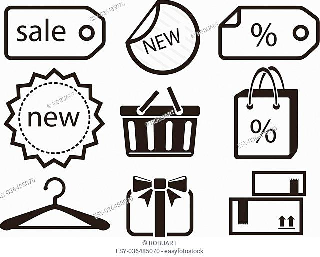 Collection of shopping icons such as tag, sticker, basket, bag, clothes rack, gift in black color isolated on white background