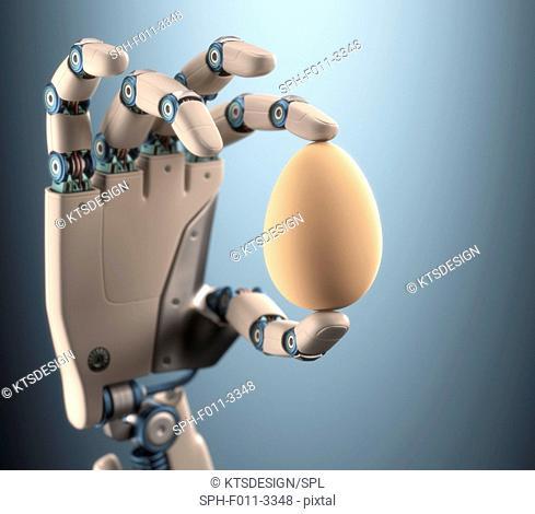 Robotic hand holding an egg, computer illustration