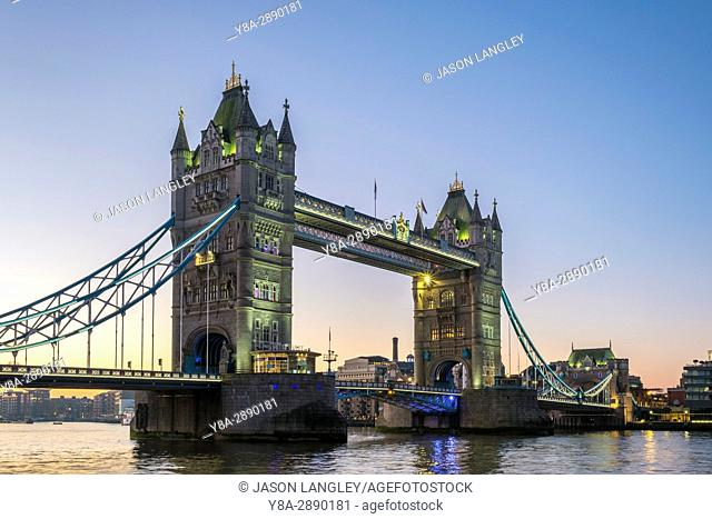 United Kingdom, England, London. Tower Bridge over the River Thames at sunrise