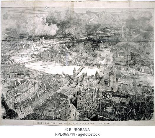 Bird's-eye view of London, 'Bird's-eye view of London as seen from a balloon, 1884'. Aerial view. Image taken from The Graphic
