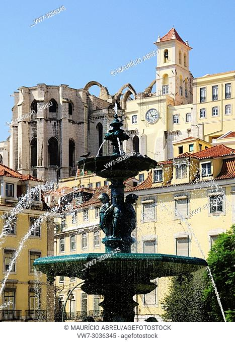 Rossio square or Praça Dom Pedro IV and Convento do Carmo. Lisbon, Portugal