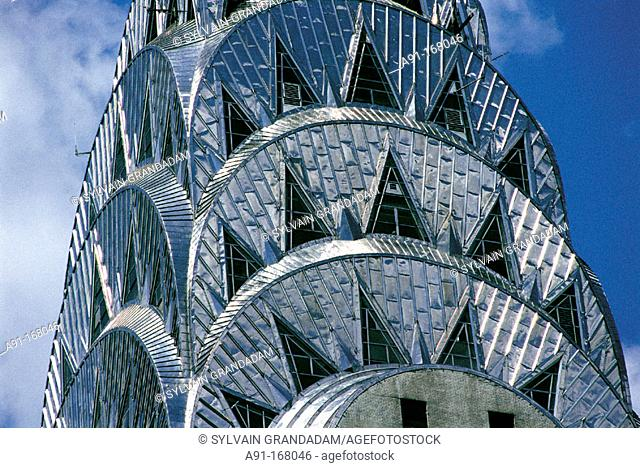 Chrysler Building. Detail of the stainless steel roof. New York City. USA