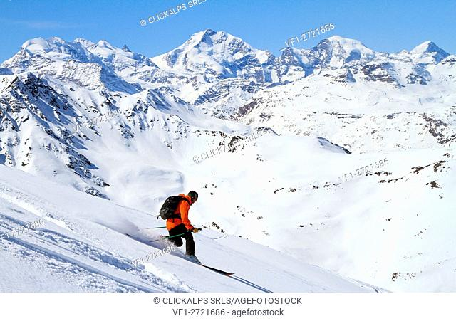 Telemark during Skieda event in Livigno - Lombardy - Italian Alps