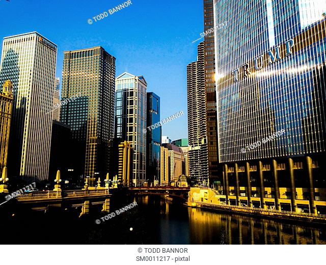 Skyscrapers along the Chicago River including Trump International Hotel and Tower. Morning